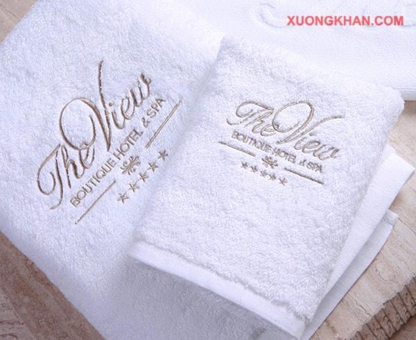 Khăn khách sạn dệt logo xưởng khăn