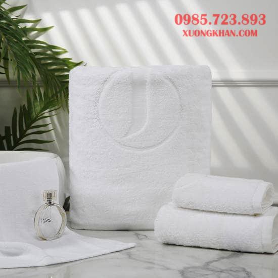 Bộ khăn tắm khách sạn 5 sao thêu dệt logo cao cấp